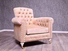 Baroque Fauteuil Chesterfield ANCIEN MASSIF BEIGE CRÈME meubles de style vintage