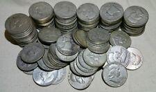 Lot of 100 Silver Franklin Half Dollars $50 Face Value (Random Dates 1948-1963)