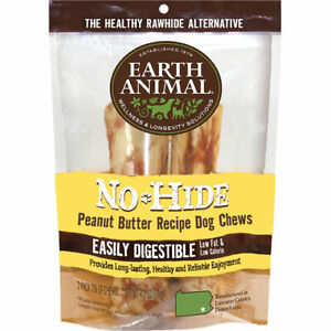 "Earth Animal No-Hide PEANUT BUTTER Dog Chew Treat 4"" 2 pak MADE IN USA"
