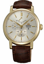 NWT ORIENT Classic Automatic Power Reserve Sapphire Leather Watch Gold EZ09002S
