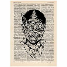Surreal Face Of Eyes Dictionary Print OOAK, Mystic, Art, Unique, Gift,