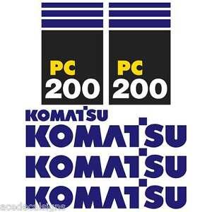 Komatsu PC200-7 Decals Kit, PC200-7 Stickers New Repro Decal Kit