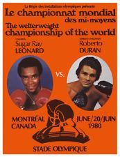 AMAZING Boxing POSTER -1980 Sugar Ray Leonard vs Roberto Duran I CHAMPIONSHIP