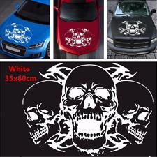 1Pcs White 39x60cm Triple Skull Head Sticker Vinyl Graphics Decal For Car Hoods