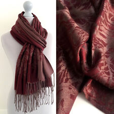 Large Burgundy Maroon Pashmina Scarf Wrap Evening Shawl Long Reversible Cotton