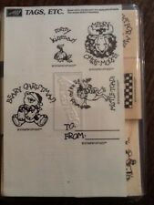 """STAMPIN' UP! """"Tags, Etc."""" 8 Christmas Holiday Rubber Stamps 1993 Retired NEW"""