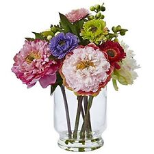 Nearly Natural 4586 Peony and Mum in Glass Vase NEW