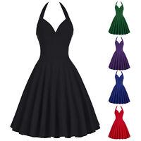 Damen Halter Vintage Pin Up Kleider Tanzkleid Petticoat Partykleider Ballkleider