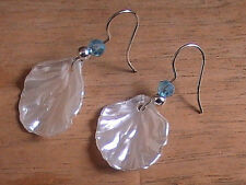white seashell earrings irridescent shiny crystal Atlantis blessed nautical sea