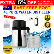 AU ! 4L Pure Water Distiller 304 Stainless Steel w Glass Jar for Dental Medical