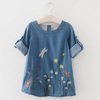 Toddler Kids Baby Girl Flower Embroidery Denim Casual Party Princess Dresses AU