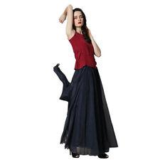 Women Double Layer Chiffon Pleated Retro Long Maxi Dress Elastic Waist Skirt US