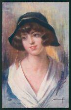 Artist Signed Sidoli Glamour Fashion Lady serie 3324-6 cartolina TC1353