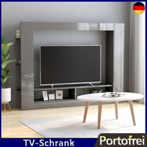TV-Schrank Wohnwand Medienwand Anbauwand Hochglanz-Grau Spanplatte 113 cm Höhe