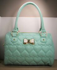 Betsey Johnson Speedy Be Mine Quilted Heart Mint & Bone White Bow Purse MSRP $98