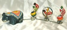 Vintage Tin Litho T.P.S. Wind Up Circus Elephant & 3 Attached Clowns Japan Cute