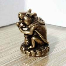 Rat Mouse hold money Miniature Figurine Brass Statue Luck Wealth Rich Amulet DAG