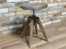 Height Adjustable Industrial Style Metal & Wood Bar Stool Seat Chair