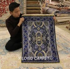 YILONG 2'x3' Blue Handknotted Silk Carpet Tribal Home Indoor Area Rug 768A