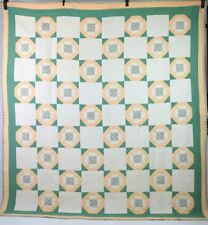 Vintage Patchwork Quilt Blanket Bed Spread Cover Twin Size Peach & Green 69 x 79