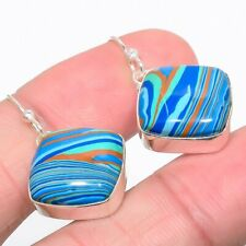 """Rainbow Calsilica 925 Sterling Silver Jewelry Earring 1.3"""" E667-16"""