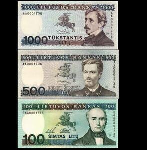 LITHUANIA 100 500 1000  LITU 1991 -1994 (SET OF 3 BANKNOTES) UNC