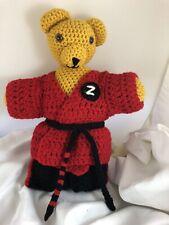 Plush Teddy Bear Master Martial Artist - Handmade And Crocheted