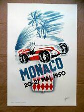 MONACO GRAND PRIX 1950 Affiche Litho B. MINNE FANGIO ASCARI CHIRON Alfa Roméo