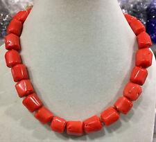 "Natural Orange coral 14-16mm irregular bead necklace chain gemstone 18"""