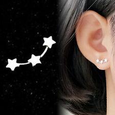 Gem Diamond Sterling Silver Ear Climber Cartilage Ring Bar Stud Piercing Earring