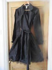 Diane Von Furstenburg Negro seda tafetán Talla 12 14 Cóctel Vestido Envolvente Gótico