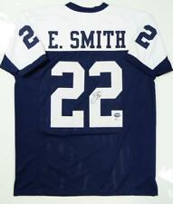 8acf03c5b Emmitt Smith Autographed White Blue Pro Style Jersey- Beckett  Authentication  R2