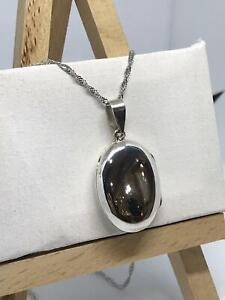 """925 Sterling Silver Solid Oval Plain MEDIUM Locket & Chain 18"""" FREE ENGRAVING"""