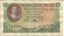SOUTH AFRICA 5 POUNDS 1956  P 97. F-VF CONDITION. 4RW 25ABRIL