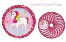 "Unicorn Birthday Party Plates ~ 9"" Magical Unicorn Baby Shower - 18pc - NEW!!"