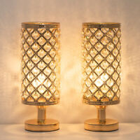 Set of 2 Gold Crystal Table Lamp Vintage Nightstand with Clear Crystal Lampshade