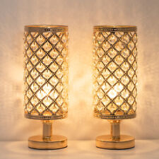 Set of 2 Gold Crystal Table Lamp Vintage Nightstand with...