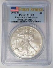 2006 W $1 American Silver Eagle 1 oz PCGS MS69 20th Anniversary First Strike