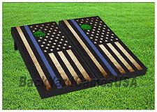 VINYL WRAPS Police Blue line Vintage USA Flag Cornhole Board DECALS Sticker 1292