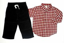 NWOT GYMBOREE Boy 2pc Outfit Fleece Pants Plaid T-shirt Fall Winter 12-18  18-24