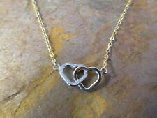 """10 KT White & Yellow Gold 2 Open Linked Heart Chain Necklace 17"""" NEW"""
