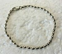 "Vtg Italy Solid Sterling Silver Seed Bead Chain 8 in. "" Bracelet 925 Lobster"