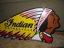 Vintage Large Indian Die-cut Motor Cycle Porcelain Dealership Advertising Sign