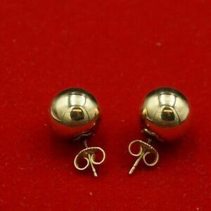 14K Yellow Gold Pierced Post 12.0mm Ball Earrings 2.1 grams