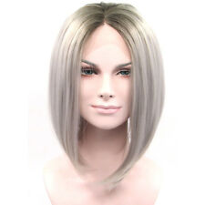 Human Hair Lace Front Grey Dark Roots Ombre With *Natural Hairline Middle Part*