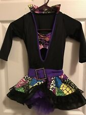 Black And Colorful Dress With Bra Top Dance Costume Outfit Medium Child