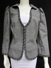 Andrew Gn Women Black Gray White Check Dressy Fashion Lace Jacket Deep V Neck XL