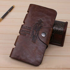 New Mens Boy Leather Long Wallet Pockets Money ID Card Clutch Bifold Purse Brown