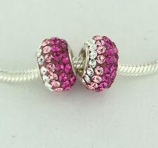 Pink Clear Kids Bead Made With Swarovski Crystal Fit Miss Chamilia Kids Bracelet