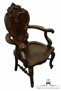 Antique Vintage Solid Red Flame Mahogany Louis XVI French Provincial Carved A...